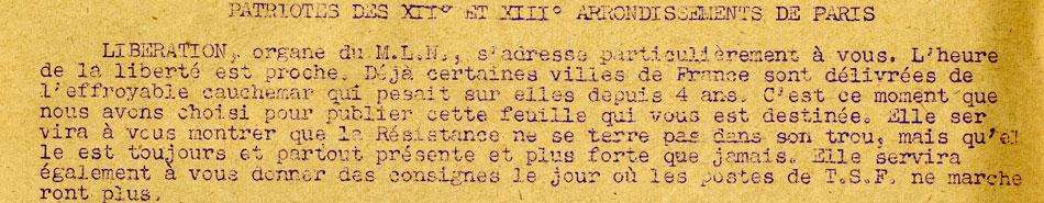 Libération des 12e et 13 arr de Paris 24/06/1944