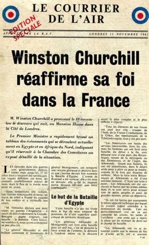 Le Courrier de l'air, édition spéciale du 11 novembre 1942 présentant la déclaration de Winston Churchill