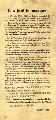Tract du mouvement Libération dénonçant le mythe du double-jeu du maréchal Pétain