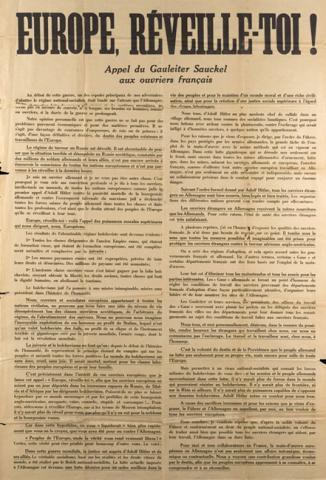 Affiche de propagande allemande soutenant l'appel de Fritz Sauckel