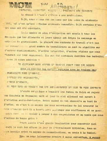 Tract du mouvement Libération-Nord faisant pression sur les comédiens...