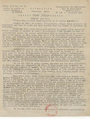 Libération, édition de zone occupée, n°126 du 28 avril 1943 - page 1 (BNF)