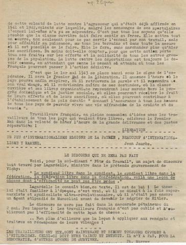 Libération, édition de zone occupée, n°126 du 28 avril 1943 - page 2 (BNF)