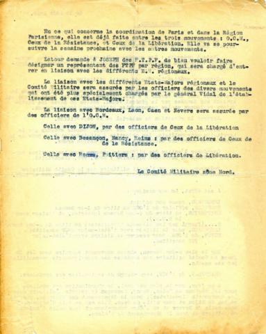 Compte rendu de la première séance du comité militaire de la zone nord (verso)