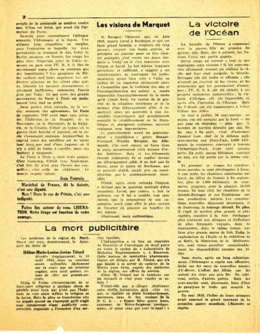 Libération n°149, édition zone nord du 5 octobre 1943 (page 2)