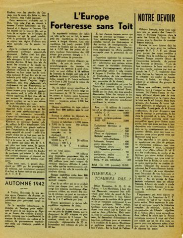 Journal La France en armes évoquant la libération de la Corse en septembre 1943 (page 3)