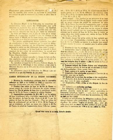 Tract de la Confédération générale du Travail (verso)