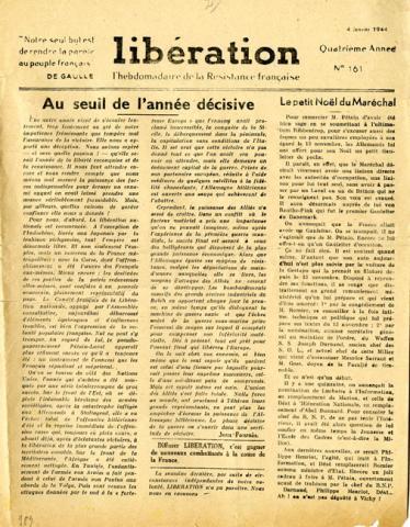 Libération, n°161 du 4 janvier 1944 (page 1)