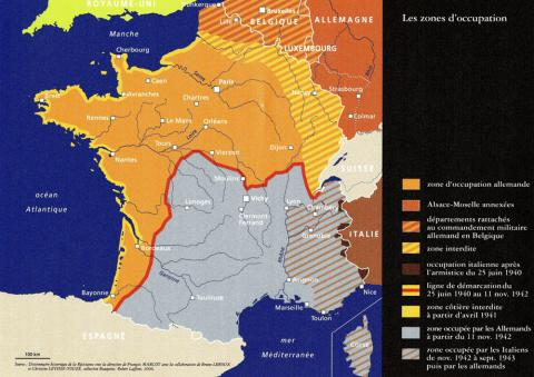 Carte de France représentant les zones d'occupation