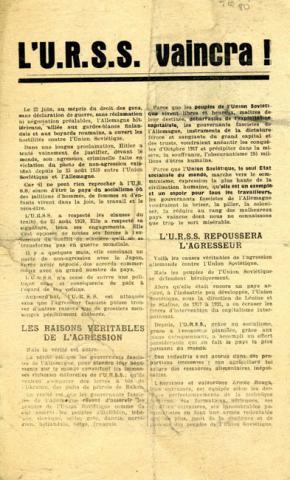 Tract de l'Association française des Amis de l'URSS, condamnant l'agression allemande contre l'URSS le 22 juin 1941