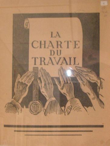 Brochure de propagande sur la nouvelle organisation du travail « la Charte du travail » créée le 4 octobre 1941 par le gouvernement de Vichy