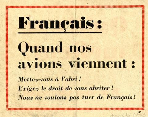 Tract anglais avertissant la population française des bombardements de l'aviation britannique visant les entreprises travaillant pour l'Allemagne (verso)