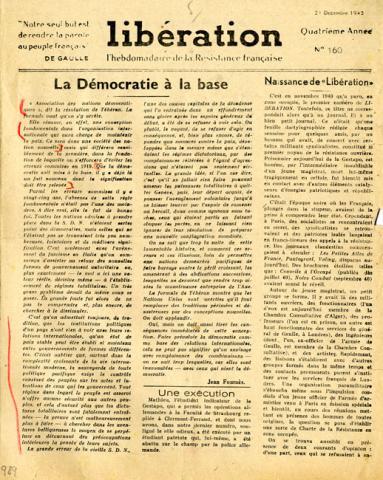 """Journal """"Libération l'hebdomadaire des Français libres"""", n°160"""