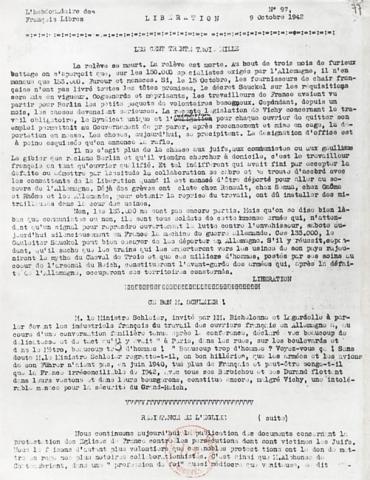 """Journal """"Libération, L'Hebdomadaire des Français libres"""" n° 97"""