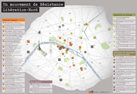 Carte de la région parisienne représentant les planques et l'implantation de Libé-Nord.