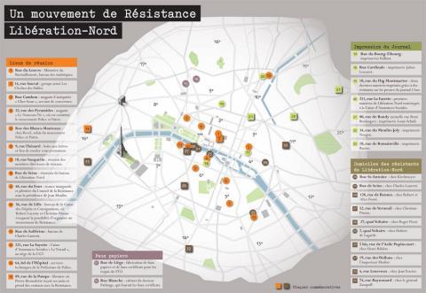 Les lieux du mouvement Libération Nord à Paris