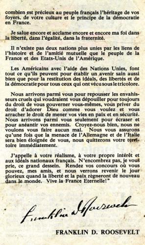 Tract largué par les avions alliés reproduisant un message radiodiffusé du Président Franklin Roosevelt adressé aux Français