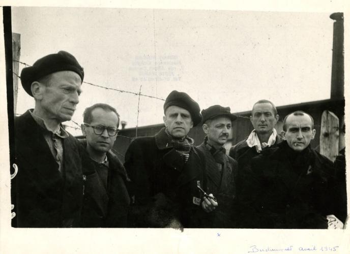 Christian Pineau, alias Jacques Grimaud, lors de la Libération du camp de Buchenwald, fin avril 1945.