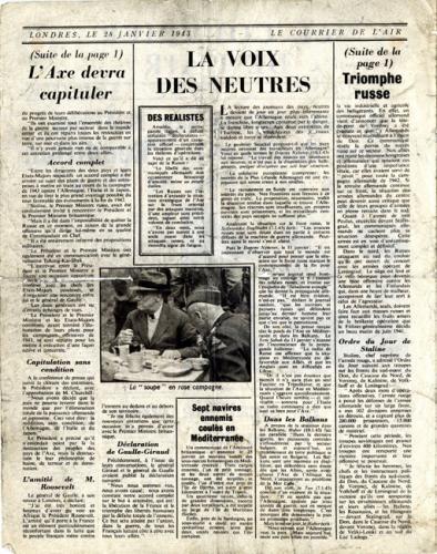 Le Courrier de l'air apporté par la R.A.F évoquant la conférence de Casablanca
