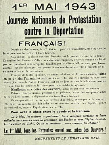 """Affiche de mobilisation et de manifestation contre """"la déportation des ouvriers français"""""""