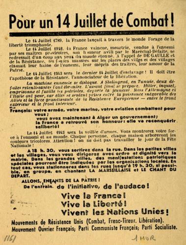 Tract imprimé et diffusé par les Mouvements unis de la Résistance