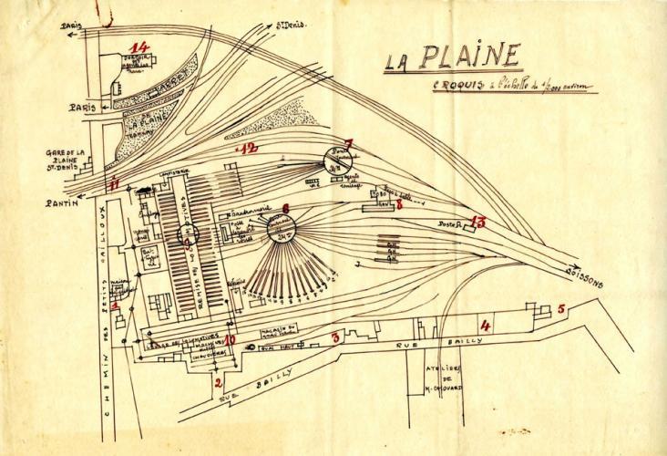Plan de l'atelier de dépôts de Vitry-sur-Seine