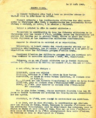 Compte rendu de la première séance du comité militaire de la zone nord (recto)