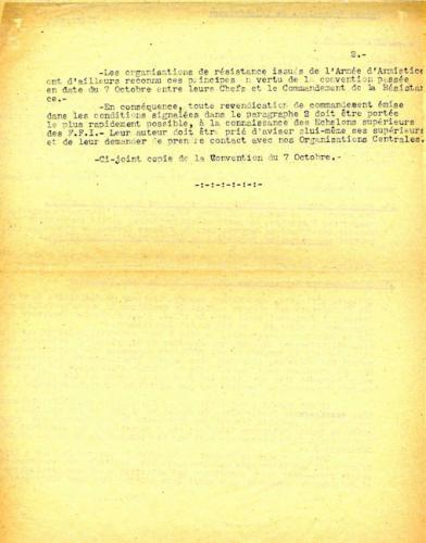 Instruction n°1 du commandement militaire des Forces françaises de l'Intérieur (verso)