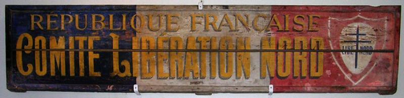 Panneau en bois du Comité de Libération Nord