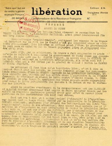 Libération, n°144, édition zone nord du 31 août 1943 (page 1)
