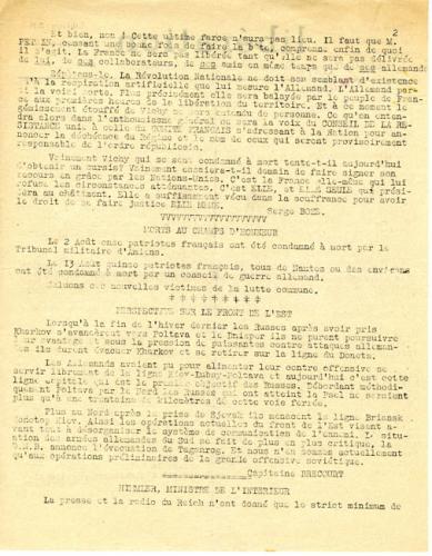 Libération, n°144, édition zone nord du 31 août 1943 (page 2)