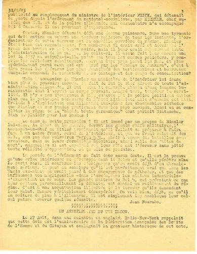 Libération, n°144, édition zone nord du 31 août 1943 (page 3)