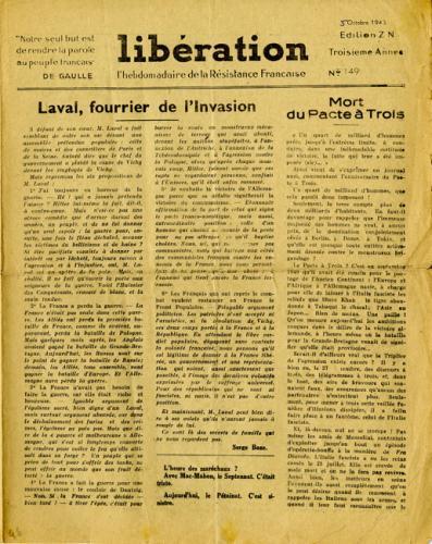 Libération n°149, édition zone nord du 5 octobre 1943 (page 1)