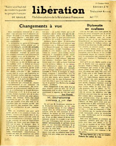 Libération, n°151, édition zone nord du 19 octobre 1943 (page 1)