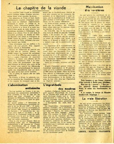 Libération, n°151, édition zone nord du 19 octobre 1943 (page 4)