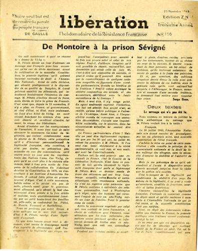 Libération, n°156, édition zone nord du 23 novembre 1943 (page 1)