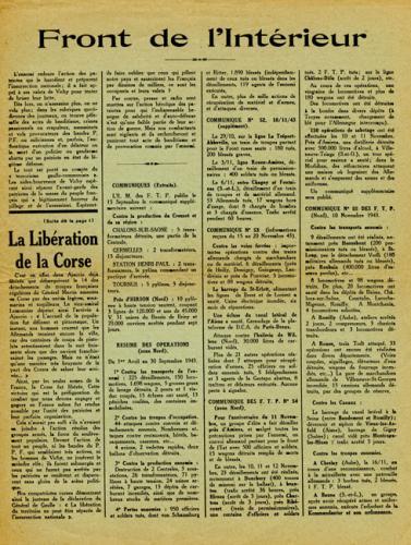 Journal La France en armes évoquant la libération de la Corse en septembre 1943 (page 2)