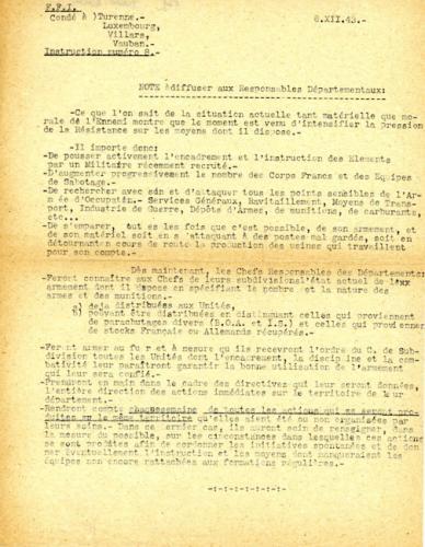 Instruction des Forces Française de l'Intérieur (F.F.I) n°8