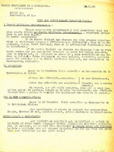 Instruction n°2 du commandement F.F.I. de la région P