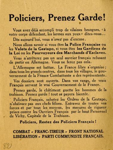 Tract de la Résistance mettant en garde les policiers collaborateurs