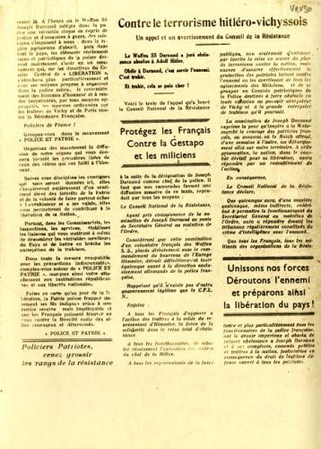 Journal de Police et Patrie (verso)