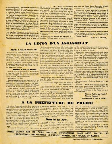 Journal Police et Patrie (verso)