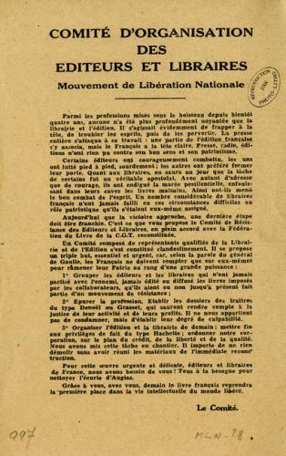 Tract annonçant la création d'un Comité de représentants des éditeurs et libraires