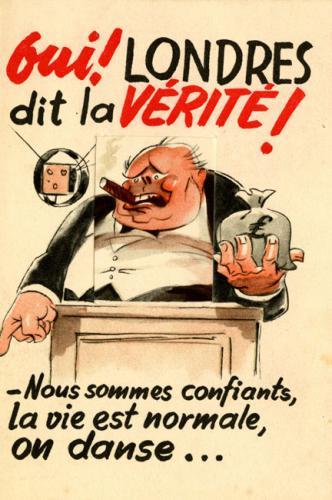 Tract de propagande anti- anglaise ironisant sur Winston Churchill dansant sur un volcan