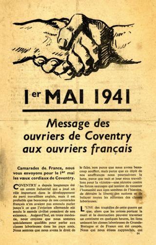 Message de soutien et de solidarité des ouvriers de Coventry aux ouvriers français à l'occasion du 1er mai 1941