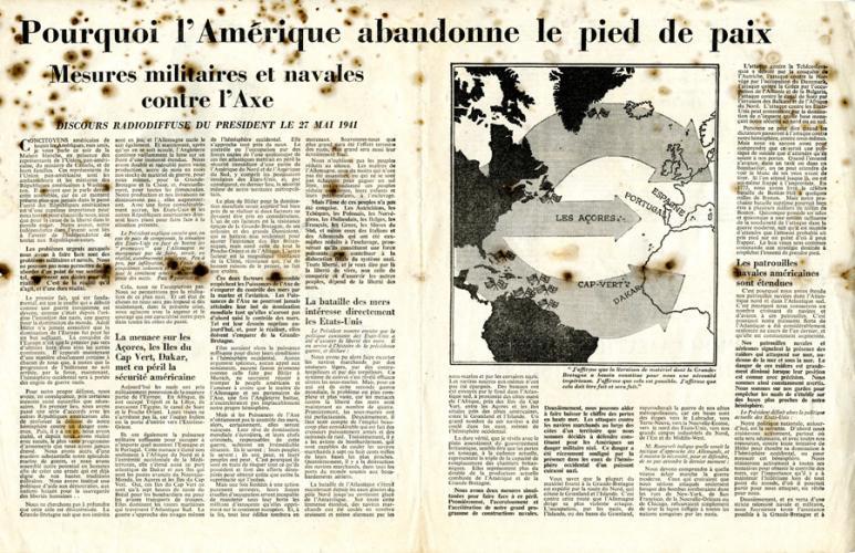 """Tract : """"L'Amérique abandonne le pied de paix"""""""