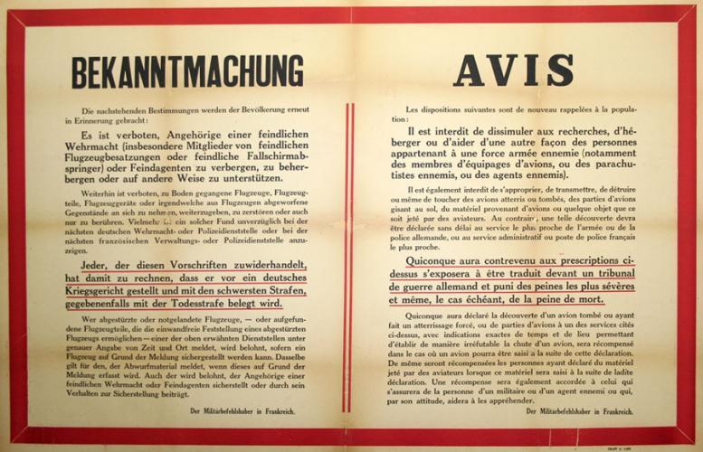 Avis allemand interdisant aux Français d'héberger des aviateurs alliés