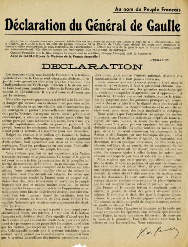 Texte intégral de la Déclaration du général de Gaulle (Musée de la Résistance nationale, Champigny-sur-Marne)