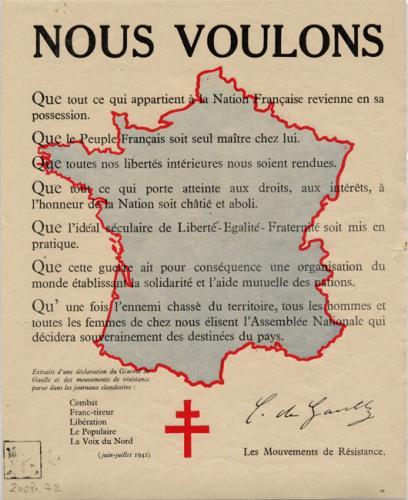 Tract diffusé en France par les journaux clandestins