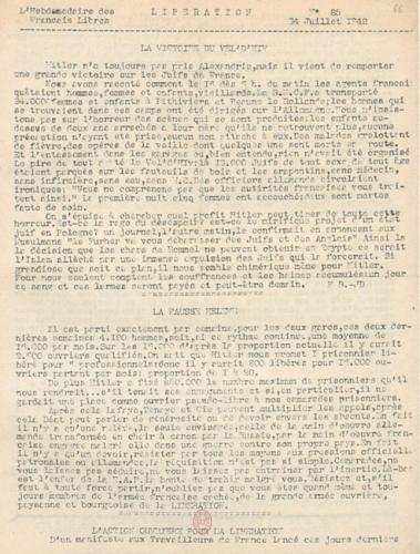 Libération, n°85 du 24 juillet 1942